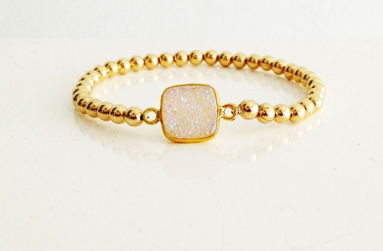 white druzy quartz and gold bridal bracelet