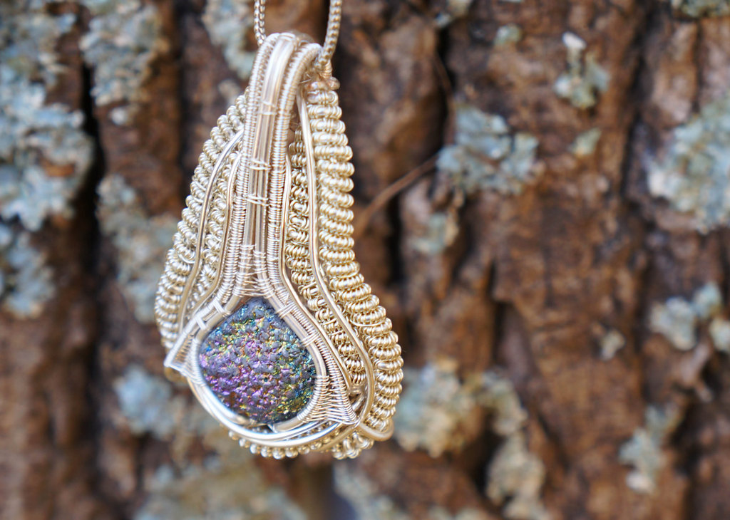 Gold and multicolor druzy bridal necklace