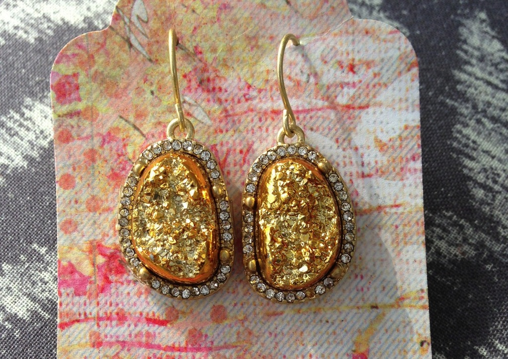Crystal and gold druzy bridal earrings
