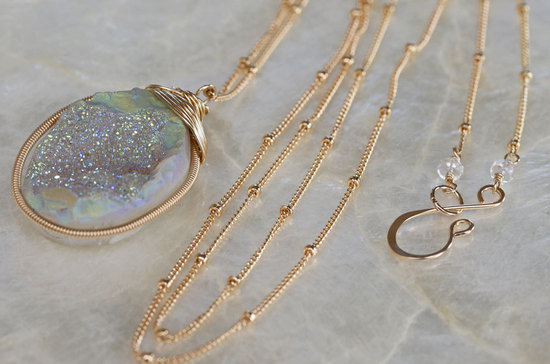 Opal like druzy long gold necklace
