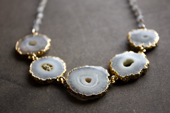 White druzy slice statement wedding necklace