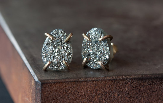Titanium and silver druzy stud bridal earrings