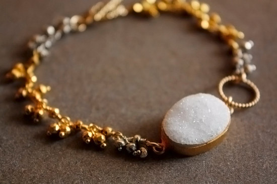gold silver and white druzy bridal bracelet