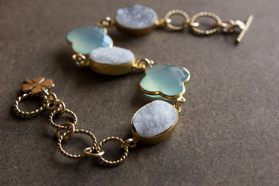 aqua and white druzy bridal bracelet in gold