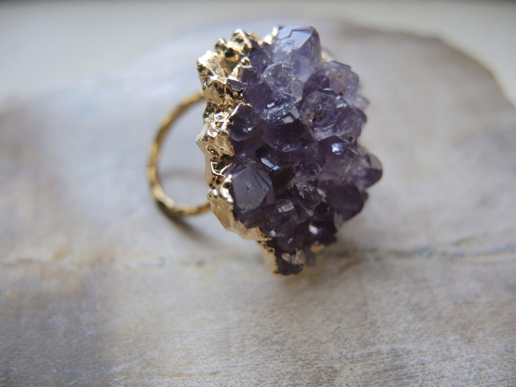 Purple druzy wedding cocktail ring