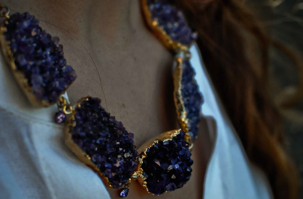 purple and gold druzy bridal necklace