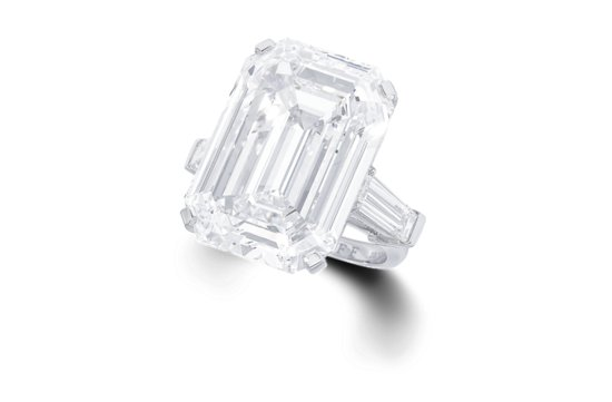 photo of 33 carat engagement ring flawless emerald cut