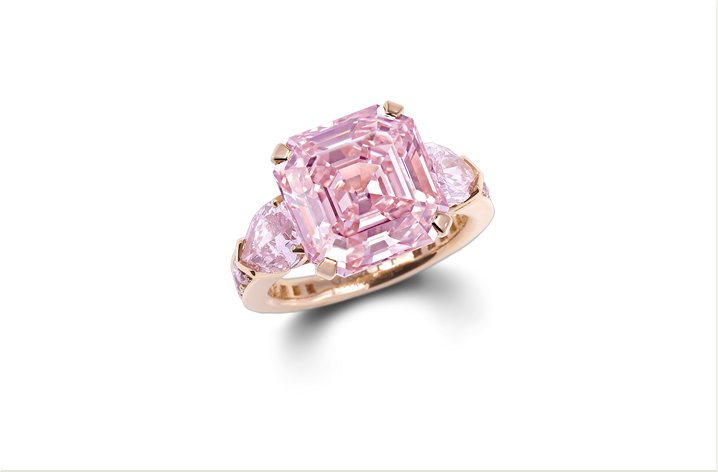 Fancy pink diamond emerald cut engagement ring in rose gold 9 ct