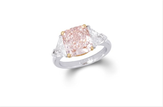 Fancy pink cushion cut diamond engagement ring 3 6 ct