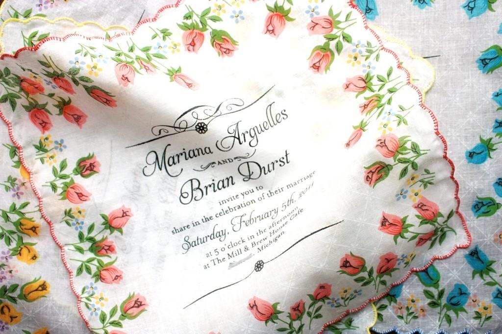 Custom Handpainted Wedding Invitation Hankies