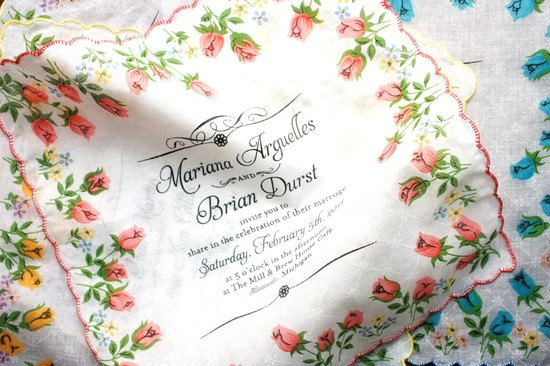 photo of Hand painted hankie wedding invitations
