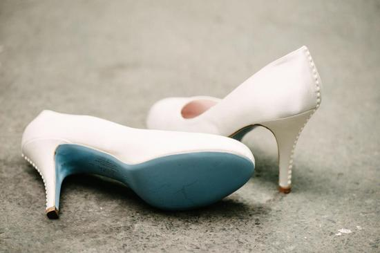 Wedding shoes by Harriet Wilde bridal heels blue soles