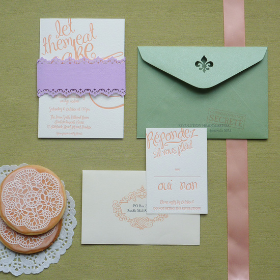 whimsical wedding invitations purple green