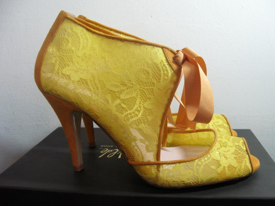 3d32fdf6138 Wedding shoes by Harriet Wilde bridal heels yellow lace booties
