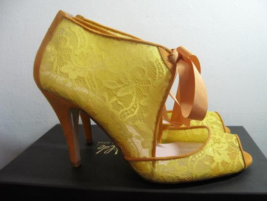 Wedding shoes by Harriet Wilde bridal heels yellow lace booties