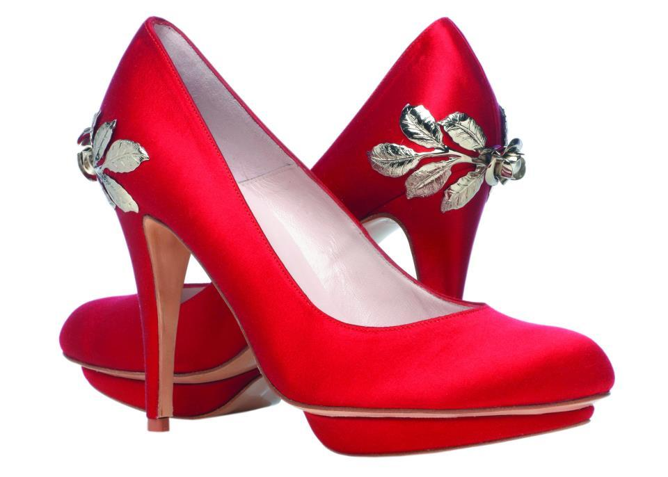 shoes by Harriet Wilde bridal heels Red with silver leaves