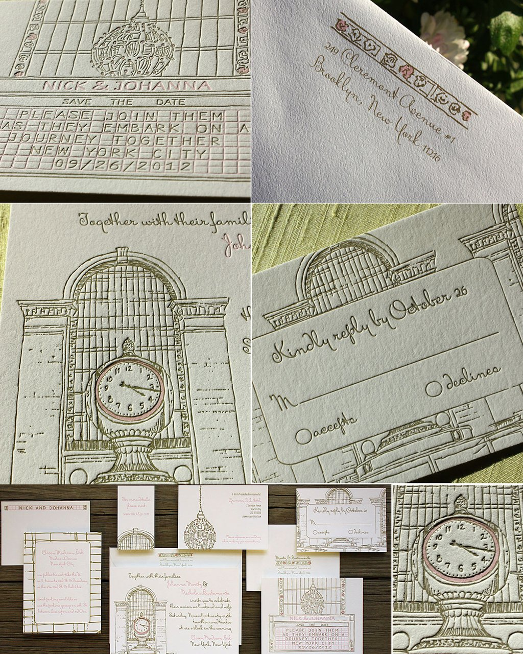 Elegant Letterpress Wedding Invitations Vintage Clock