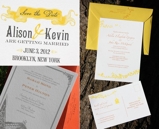 yellow white letterpress wedding invitations