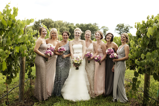 Winery wedding in Illinois real weddings mix and match bridesmaids