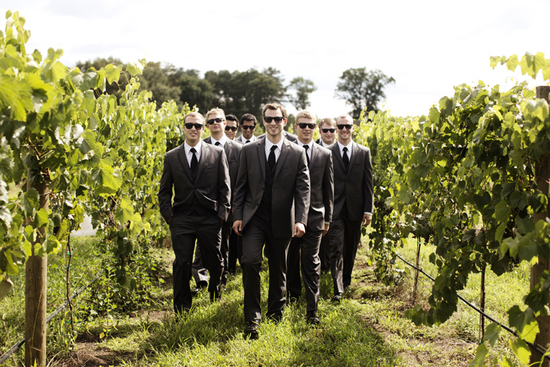 IL winery wedding dapper groom elegant bride