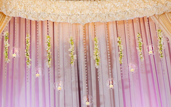 hanging crystals wedding reception decor