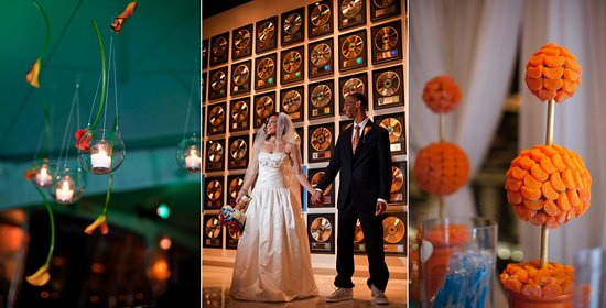 orange blue wedding reception