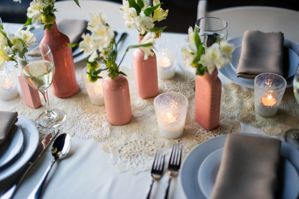 Simple wedding DIYs to try coral painted bottles