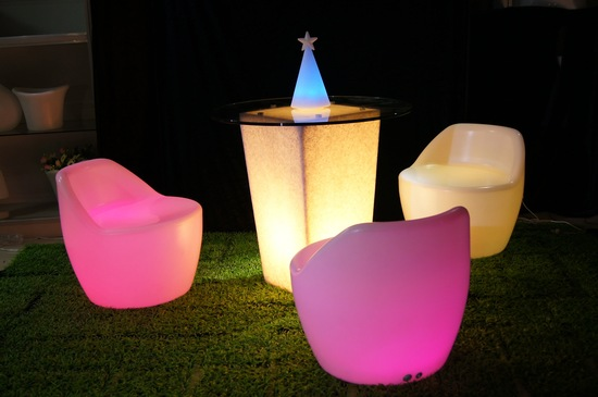 Glow in the Dark wedding reception furniture