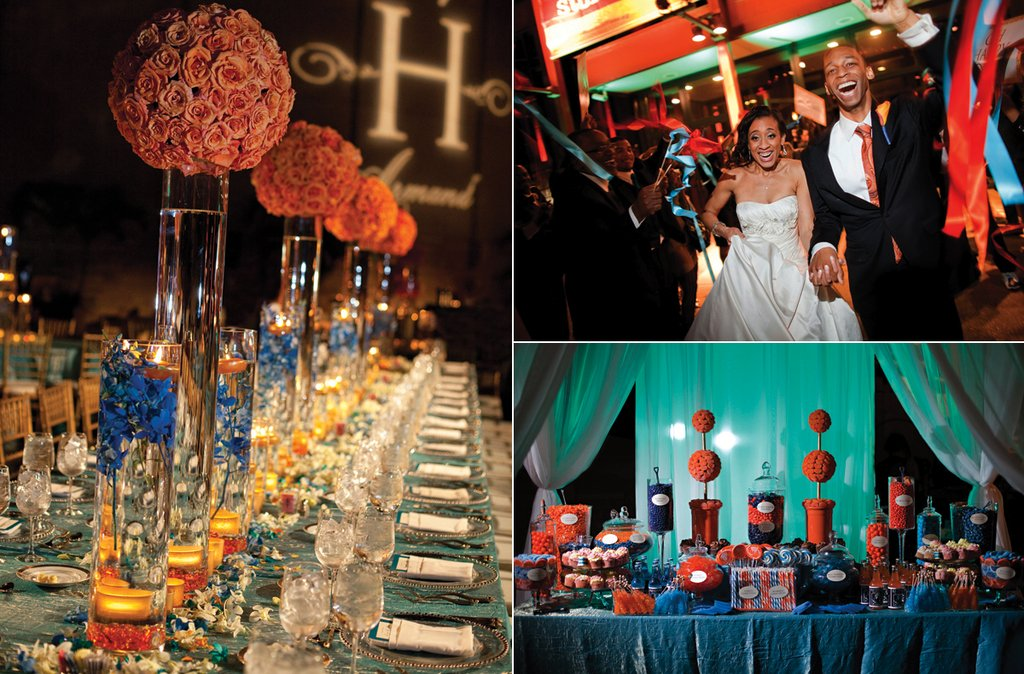 Orange-peach-blue-real-wedding-reception-centerpieces.full