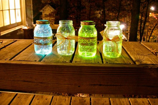 rustic glowing mason jars wedding decor