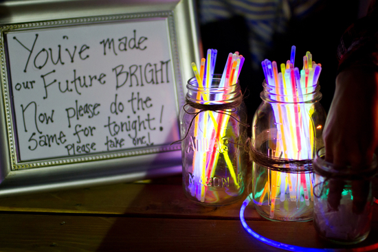 glow sticks welcome table wedding reception ideas