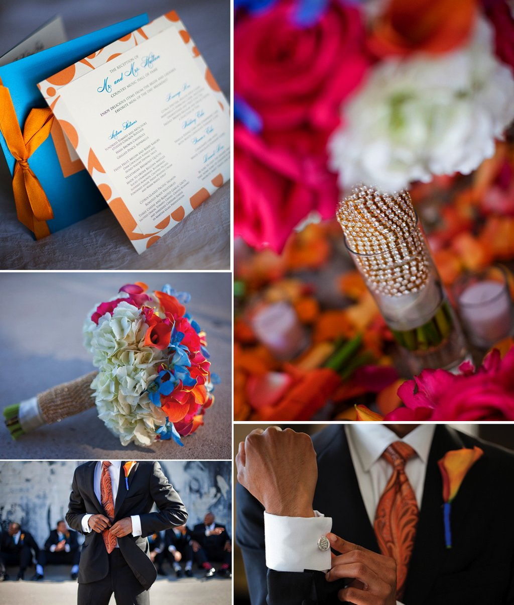 Colorful-african-american-wedding-orange-blue-wedding-invites-pink-bridal-bouquet.full