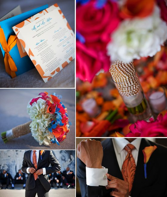 colorful african american wedding orange blue wedding invites pink bridal bouquet