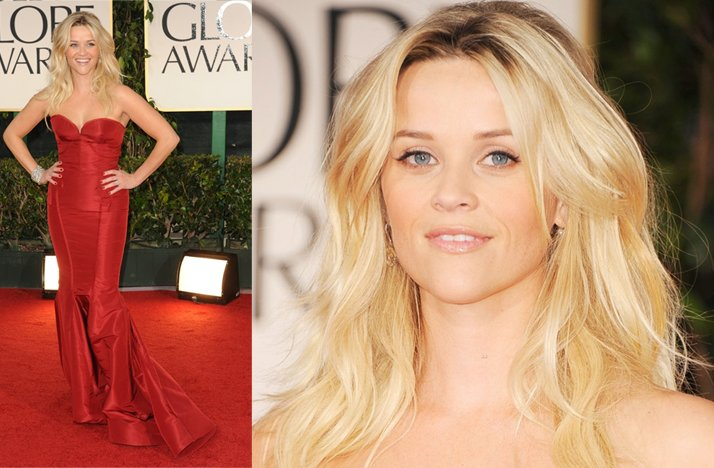 2012 golden globes wedding hair all down reese witherspoon