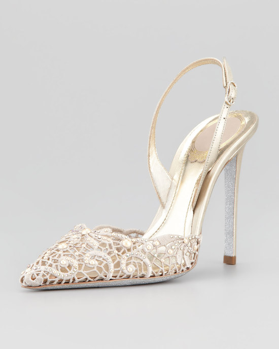 lace crochet wedding heels with silver and gold accents