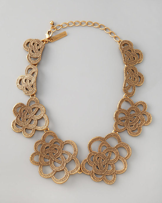 Gold looped lace cluster necklace