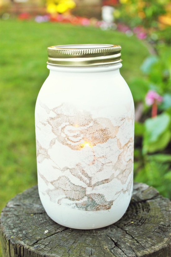 diy lace mason jar wedding decor
