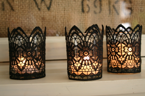 black lace candles wedding DIY