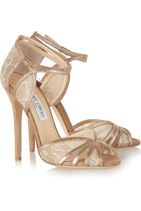 copper nude lace suede wedding shoes