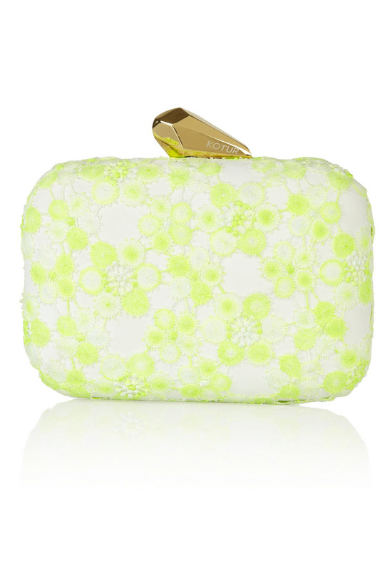 ivory lime lace wedding clutch