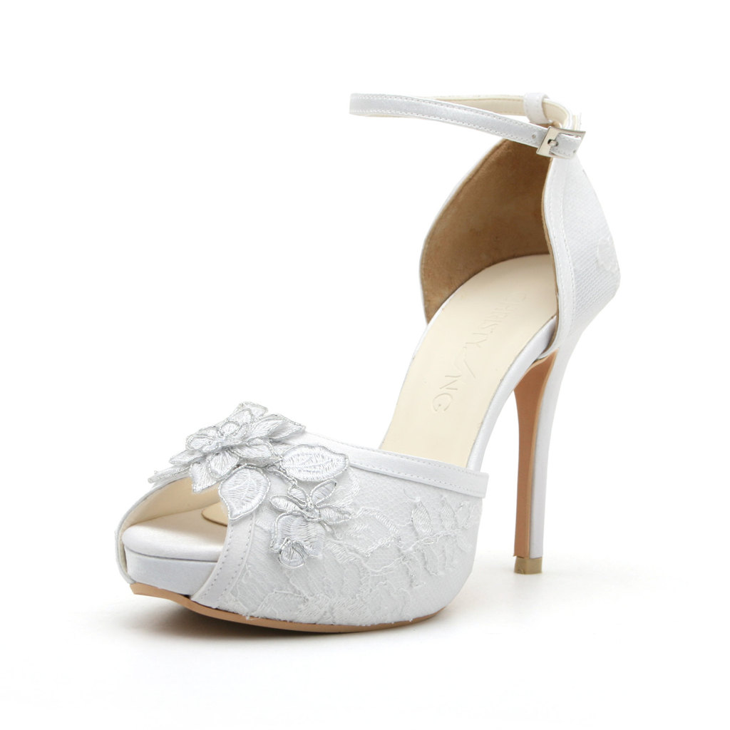 white lace platform wedding shoes