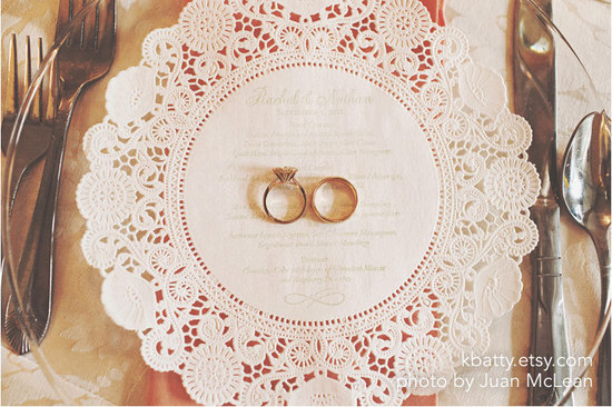 custom lace doily wedding menus