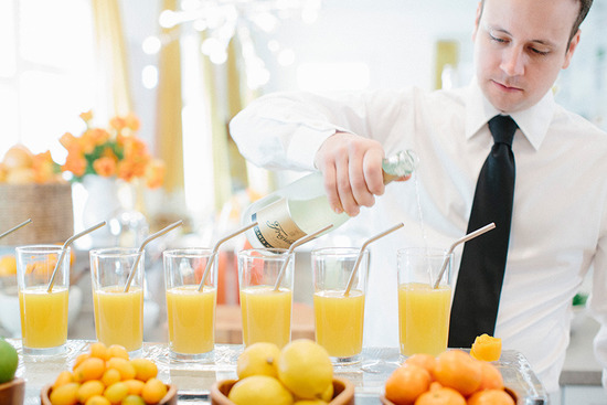 Fancy juice bar at daytime wedding