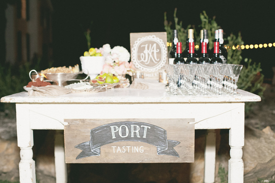 Port tasting table at wedding reception