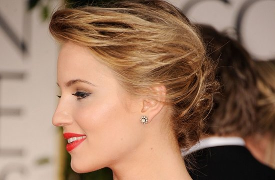 2012 golden globes red lips chignon bridal updo
