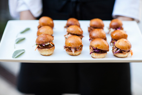 fancy pulled pork sandwiches at wedding cocktail hour
