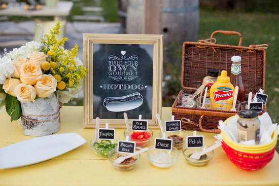 Build your own hotdog wedding reception food