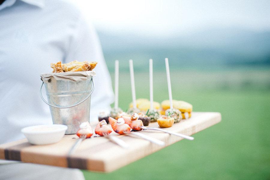 Elegant Farmhouse Appetizers At Wedding Reception