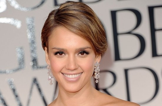 2012 golden globes jessica alba wedding hair updo natural makeup