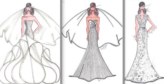 photo of angel sanches sketches anne hathaways wedding dress